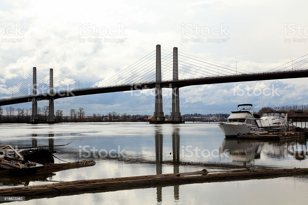 Golden Ear's Cable Stayed Toll Bridge British Columbia stock photo