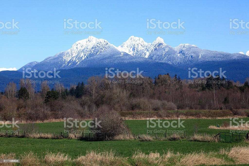 Golden Ears Mountain Range British Columbia With Rural Countryside stock photo