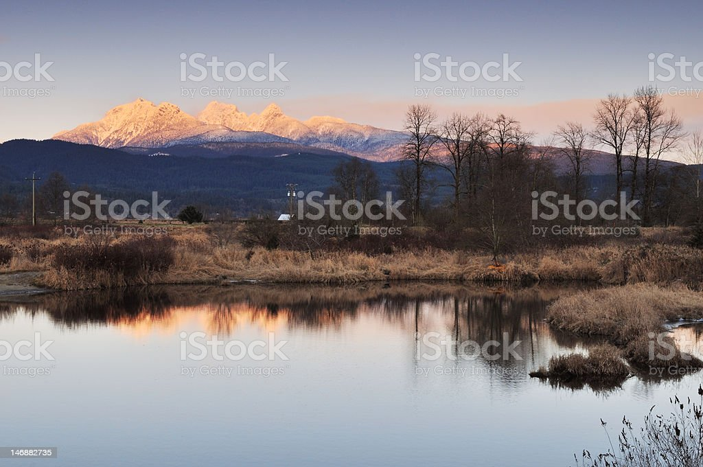 Golden Ears Mountain sunset stock photo
