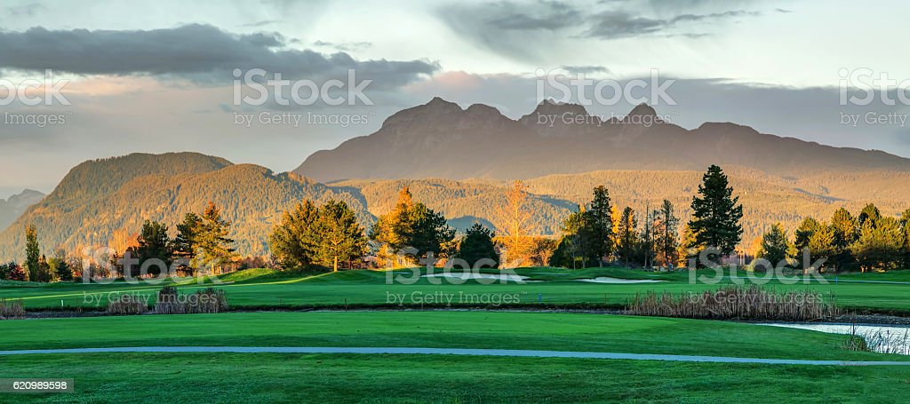 Golden Ears Mountain with golden sunset light stock photo