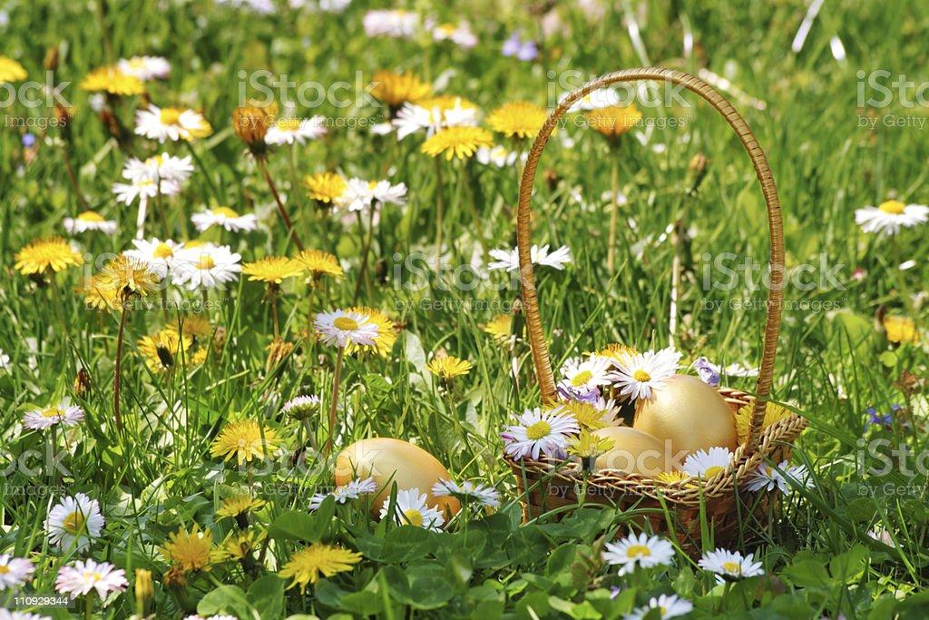 Golden Easter Egg Basket stock photo