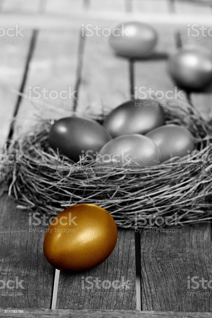 Golden easter egg in nest stock photo
