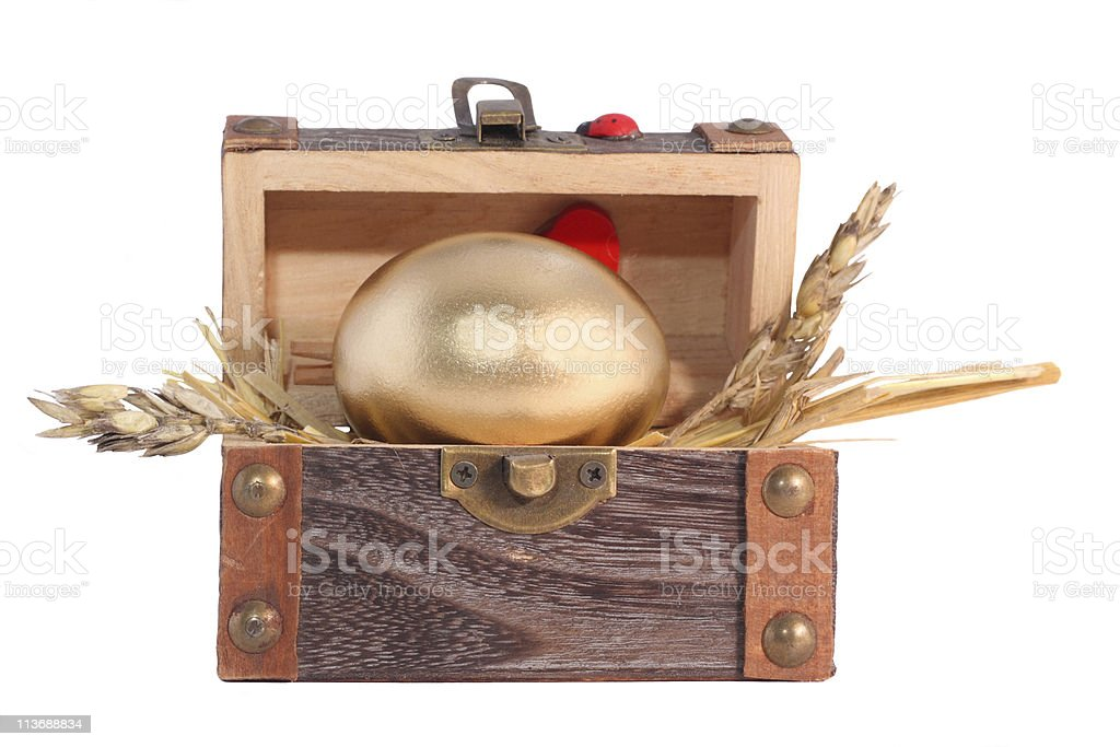 Golden Easter egg in the wooden gift box royalty-free stock photo