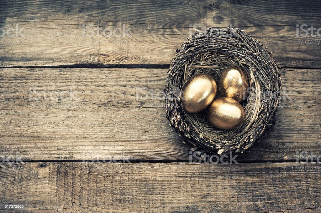 Golden easter eggs in birds nest vintage toned stock photo