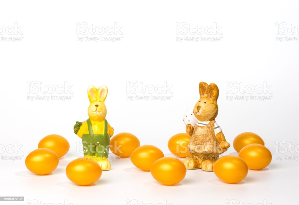 golden easter eggs on a white background stock photo