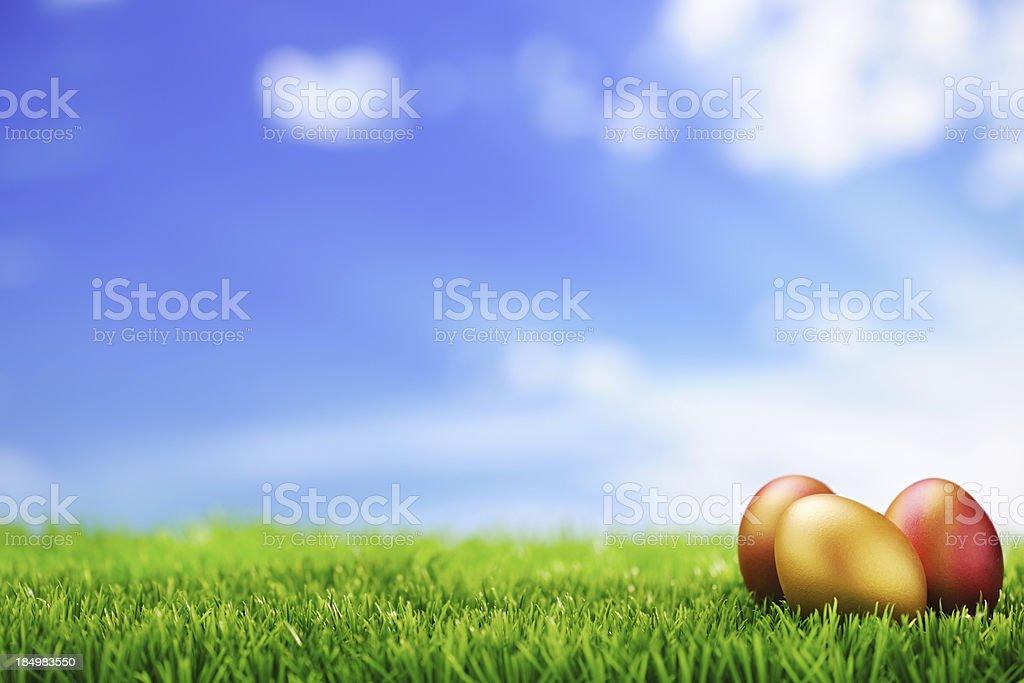 Golden Easter Eggs royalty-free stock photo