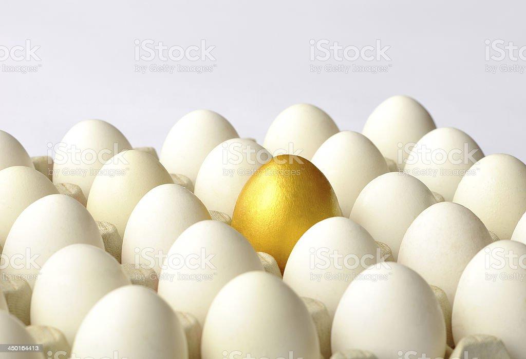 Golden egg among white eggs stock photo