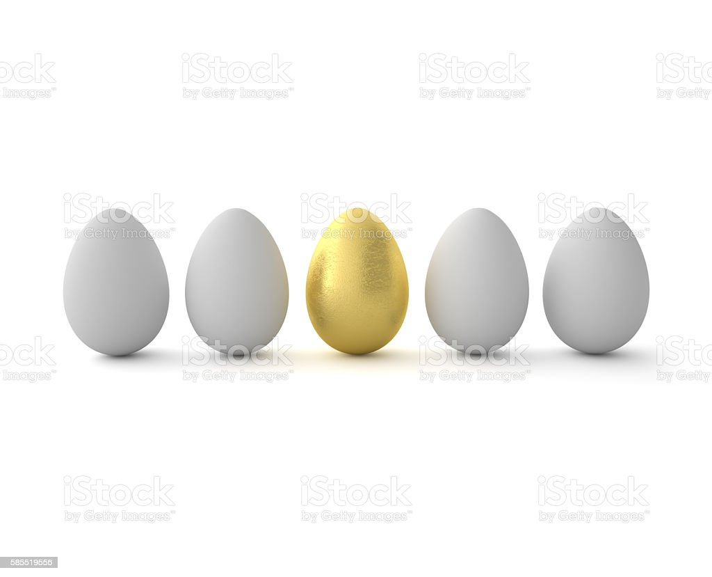Golden egg in a row of the white eggs. stock photo