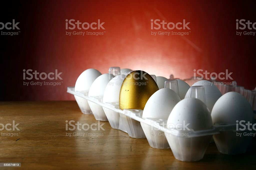 Golden egg in a tray among ordinary eggs stock photo