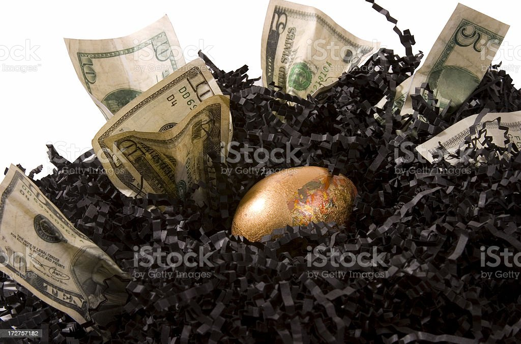 Golden Egg in Nest royalty-free stock photo