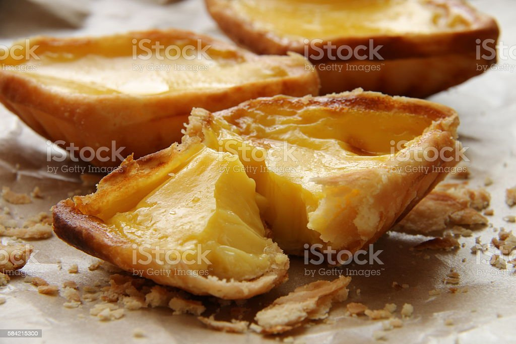 Golden Egg Tart in Close-up View stock photo