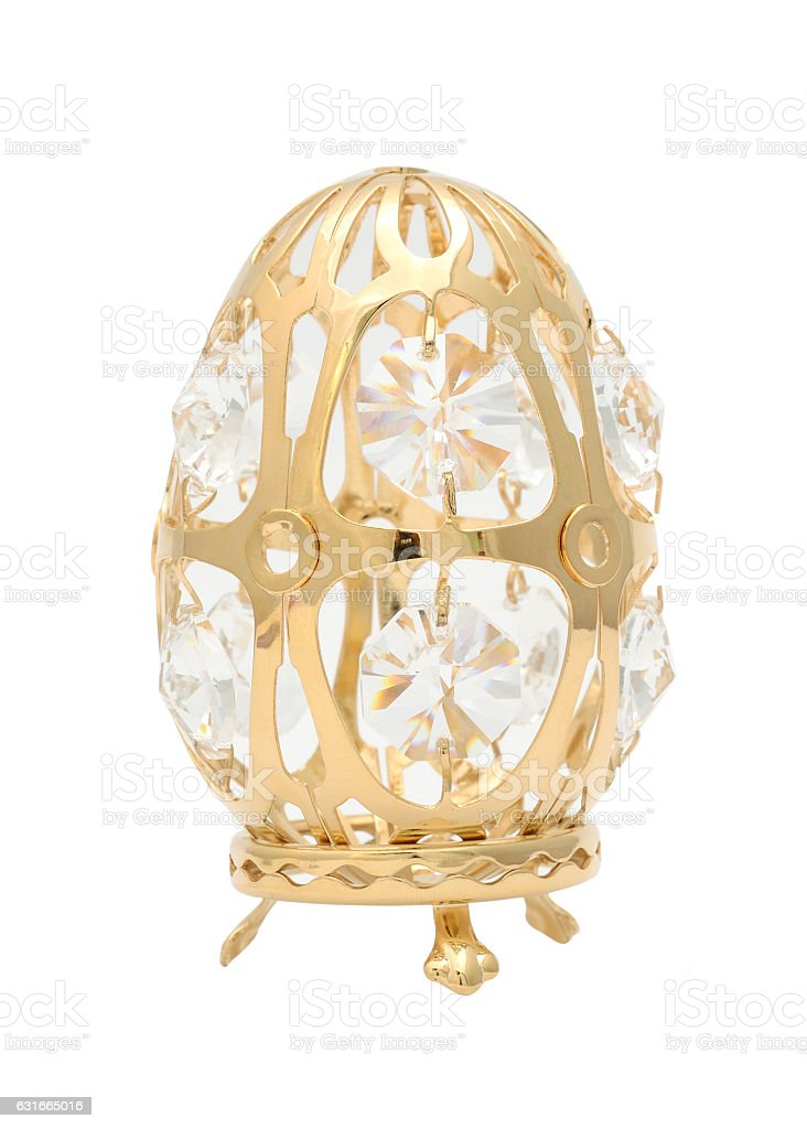 golden egg with diamonds isolated on white stock photo