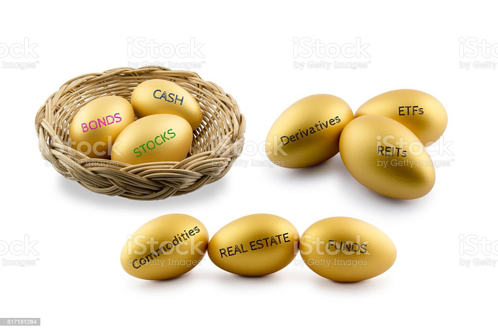 Golden eggs with types of financial and investment product. stock photo