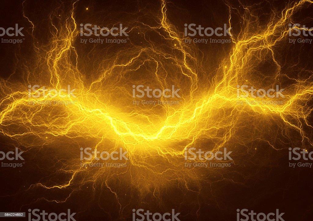 Golden electric lightning stock photo