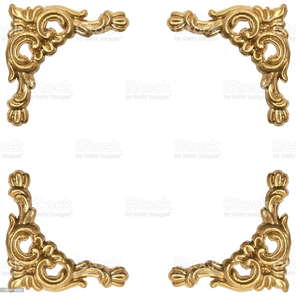 golden elements of carved frame on white royalty-free stock photo