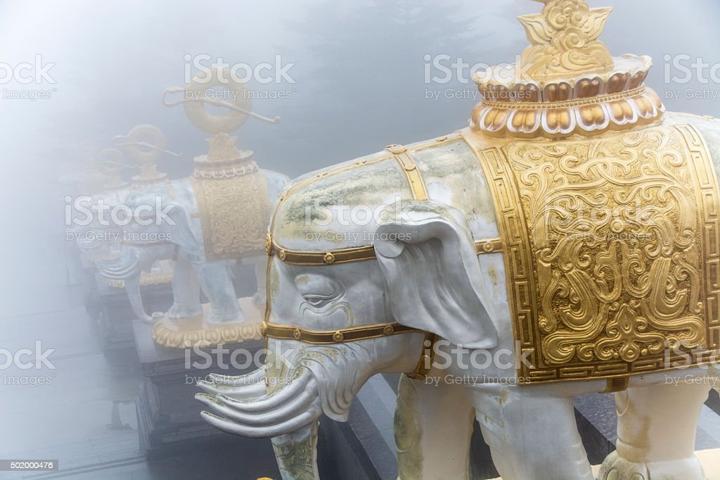 Golden Elephant Stone Statue stock photo