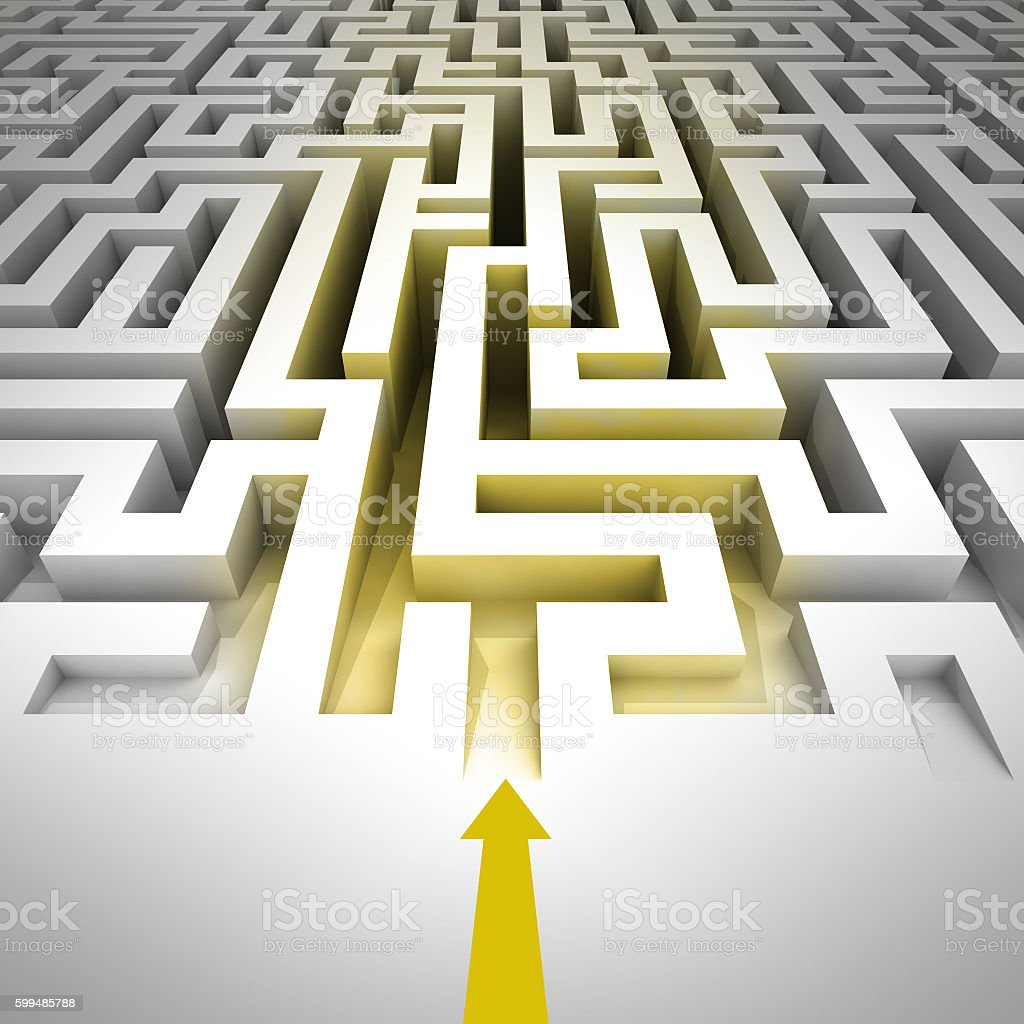 golden entrance inside to maze with arrow stock photo