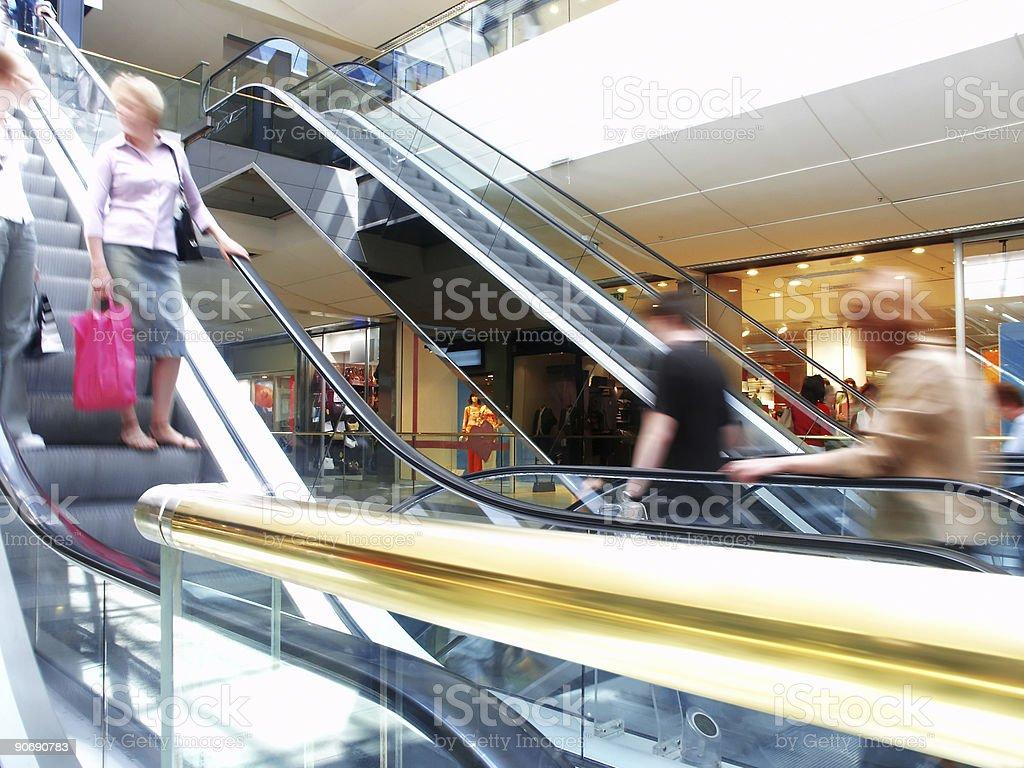 Golden escalators royalty-free stock photo