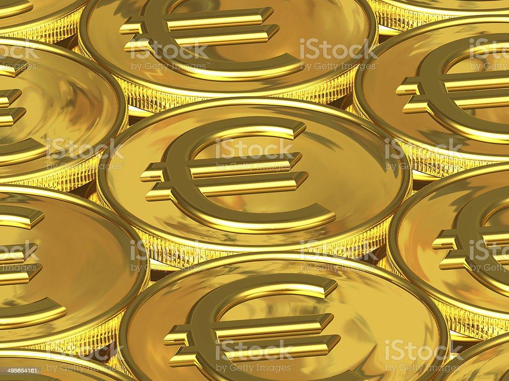 Golden euro coins royalty-free stock photo
