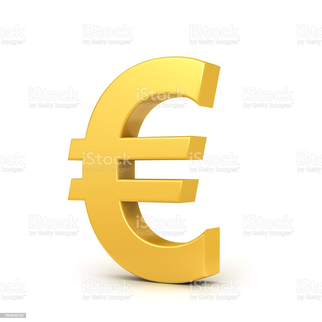 Golden euro sign stock photo