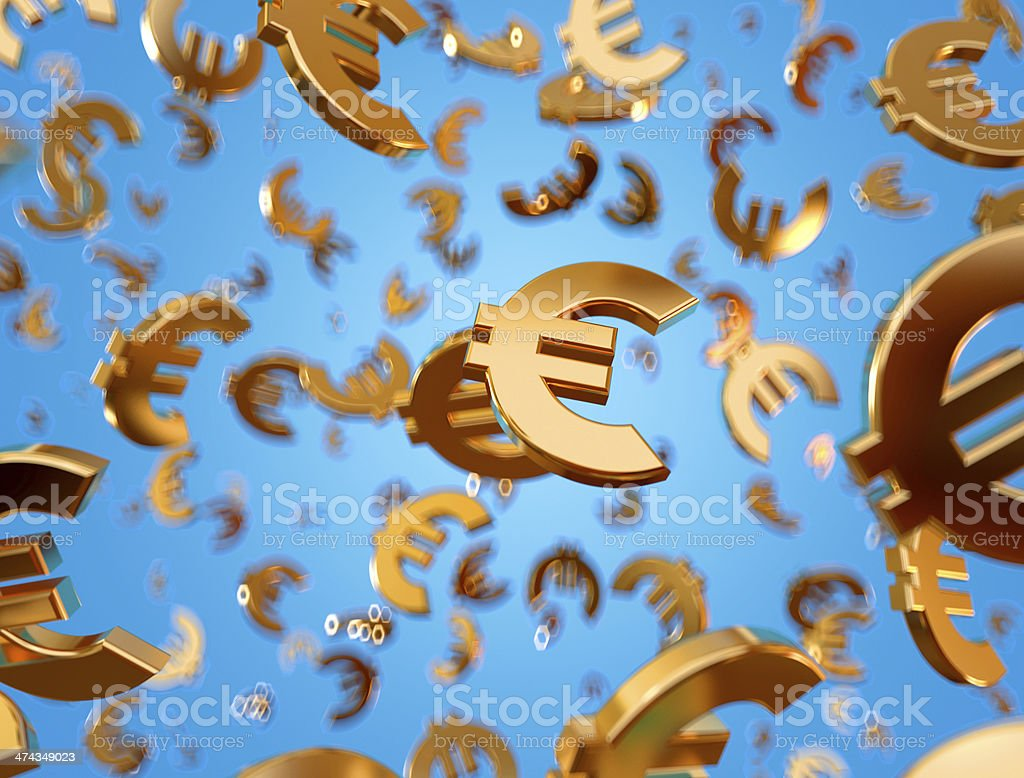 Golden euro signs raining. stock photo