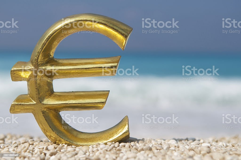 Golden Euro Symbol Mediterranean Beach royalty-free stock photo