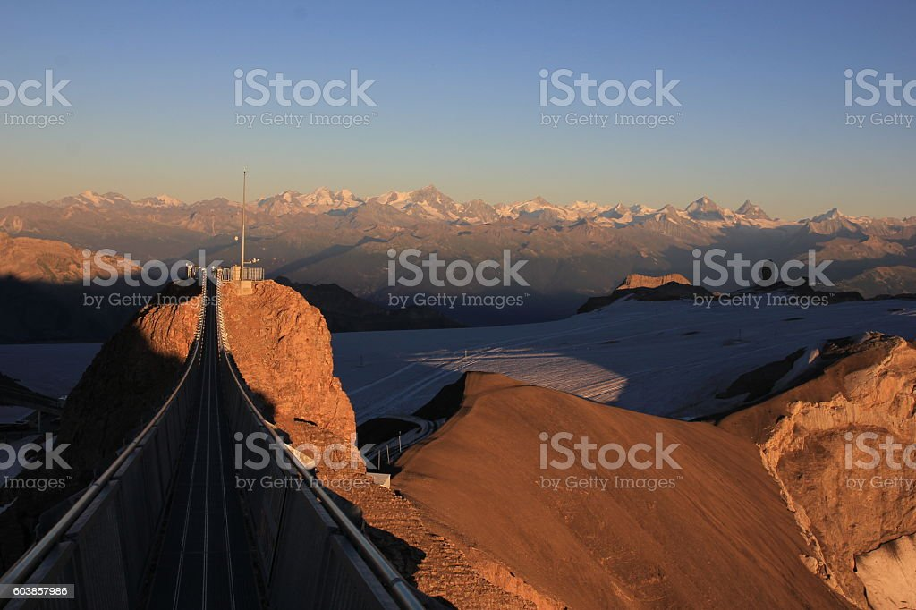 Golden evening scene on the Glacier de Diablerets stock photo
