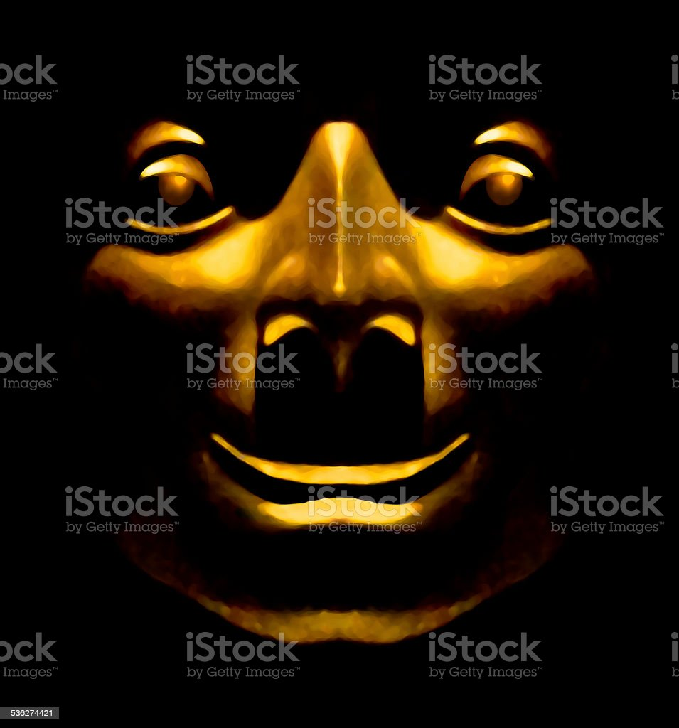 Golden Face Sculpture Happy Expression stock photo