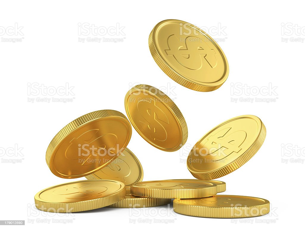 golden falling coins stock photo