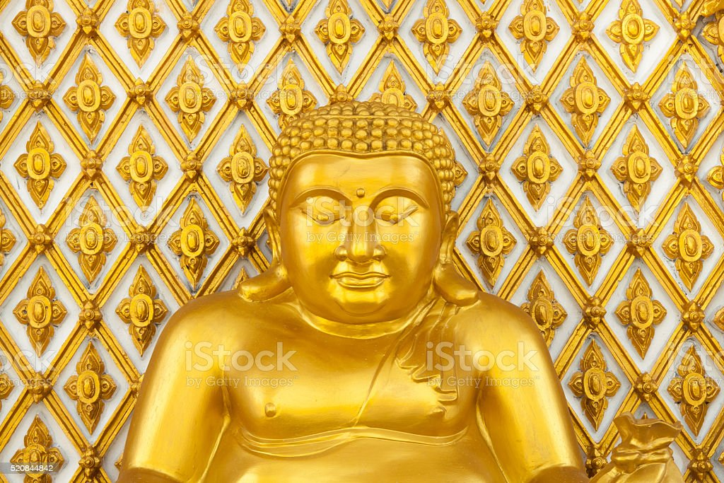 Golden fat buddha statue royalty-free stock photo