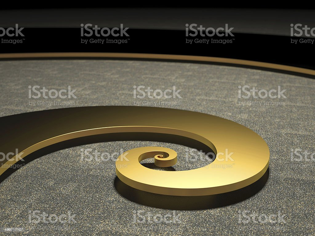 Golden Fibonacci Spiral bright illuminated stock photo