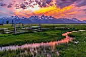 Golden Fiery Sunset at Grand Teton
