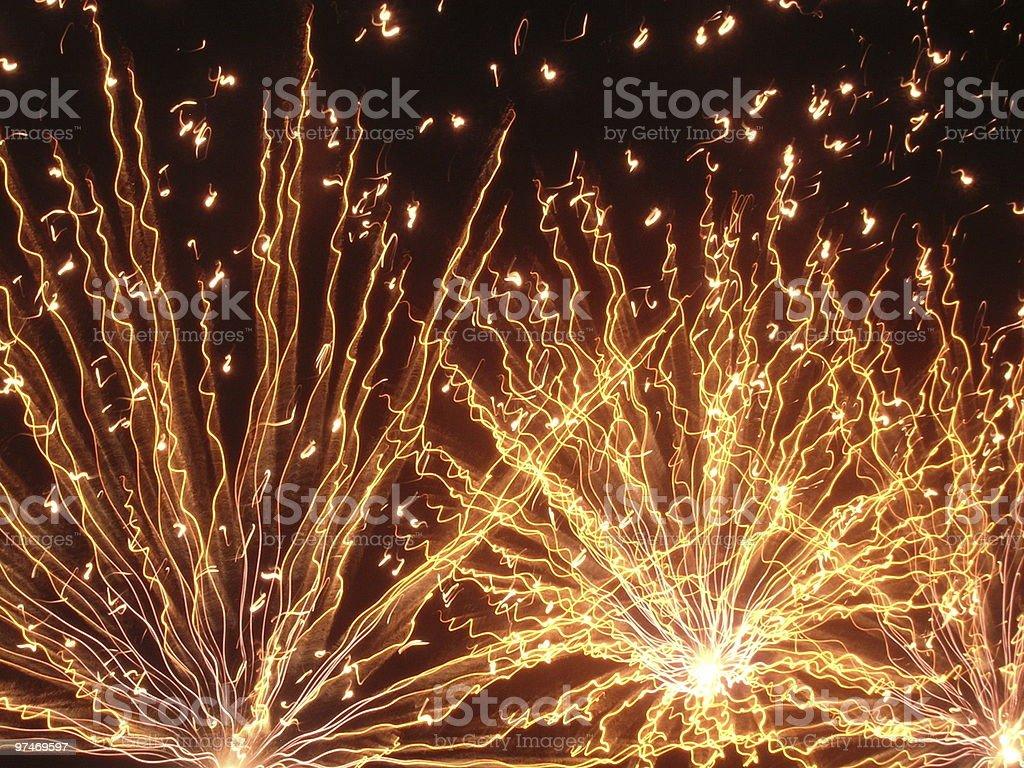 Golden Firework Footlights stock photo