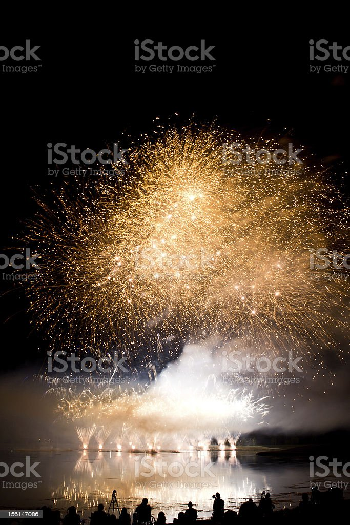 Golden Fireworks and Smoke royalty-free stock photo