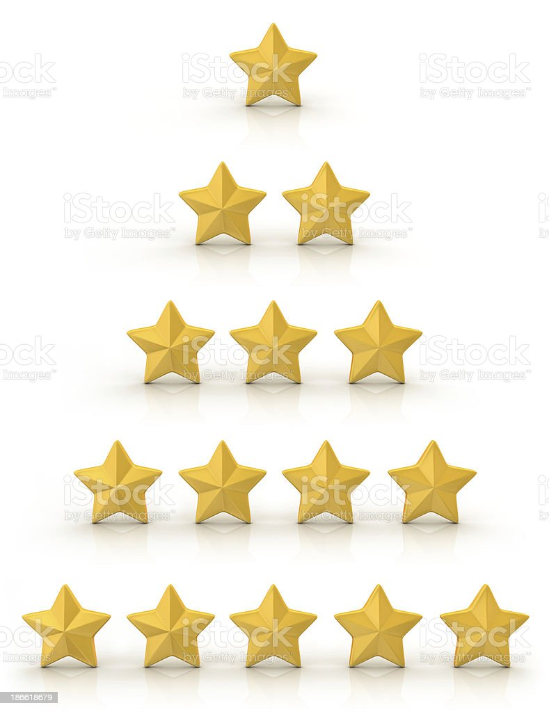 Golden Five Star Rating System stock photo
