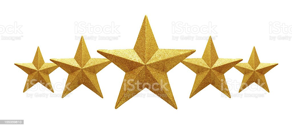 Golden Five Stars isolated on white background stock photo