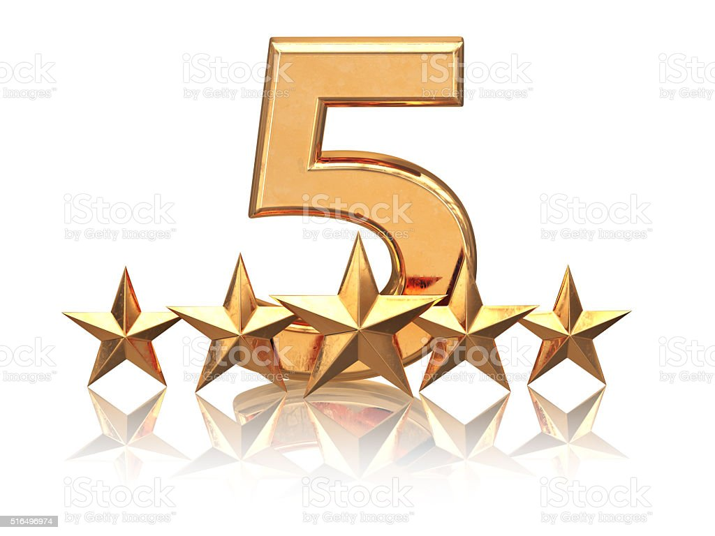 Golden five stars. Service rating of hotels. stock photo