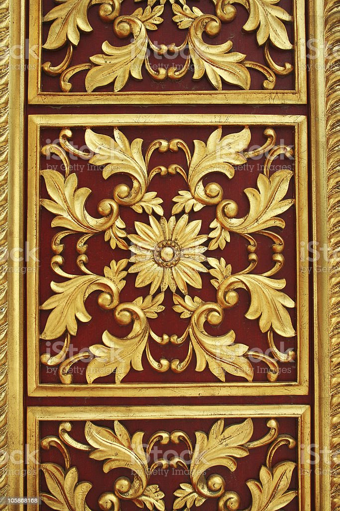 golden flower repeat on door royalty-free stock photo