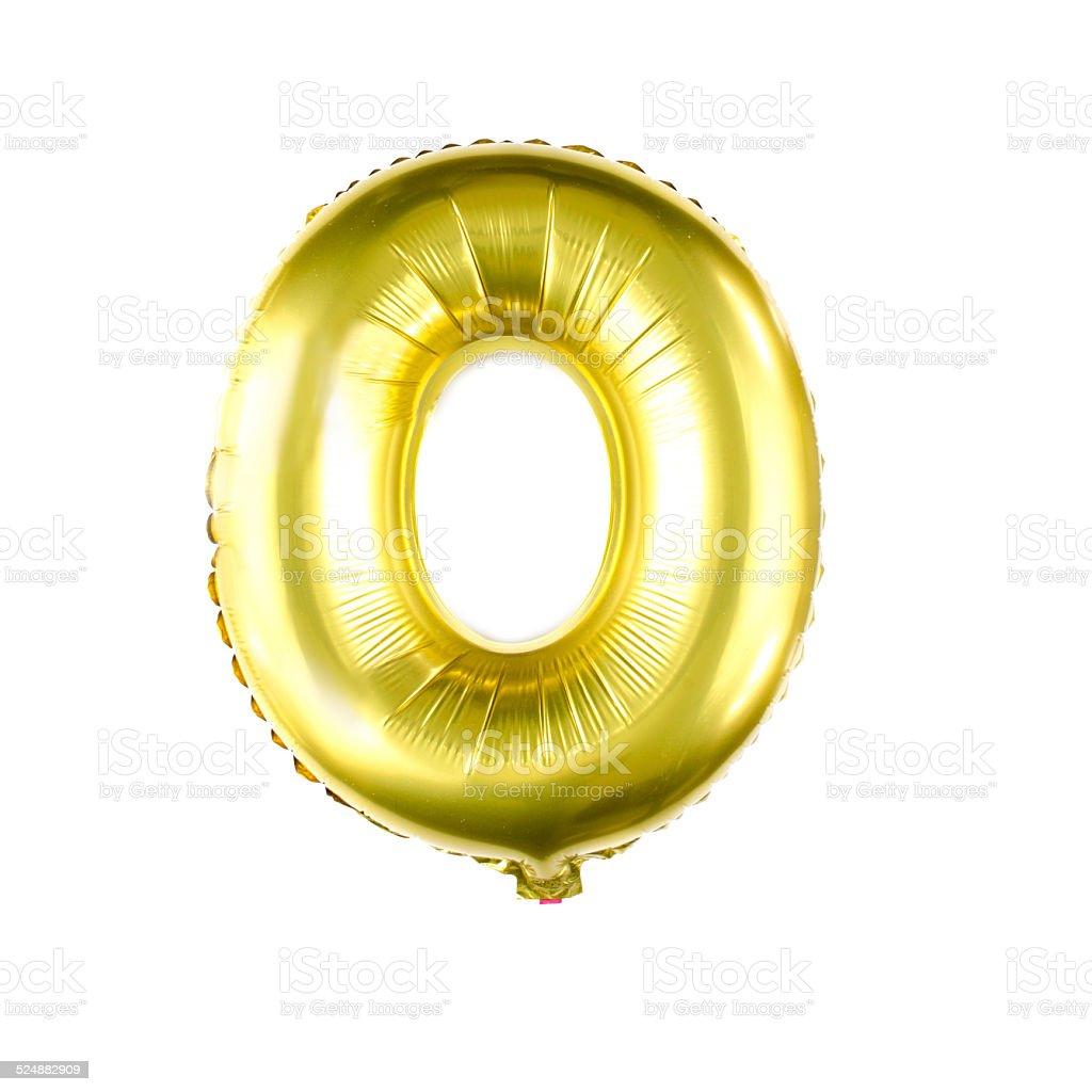 Golden foil balloon letter O stock photo