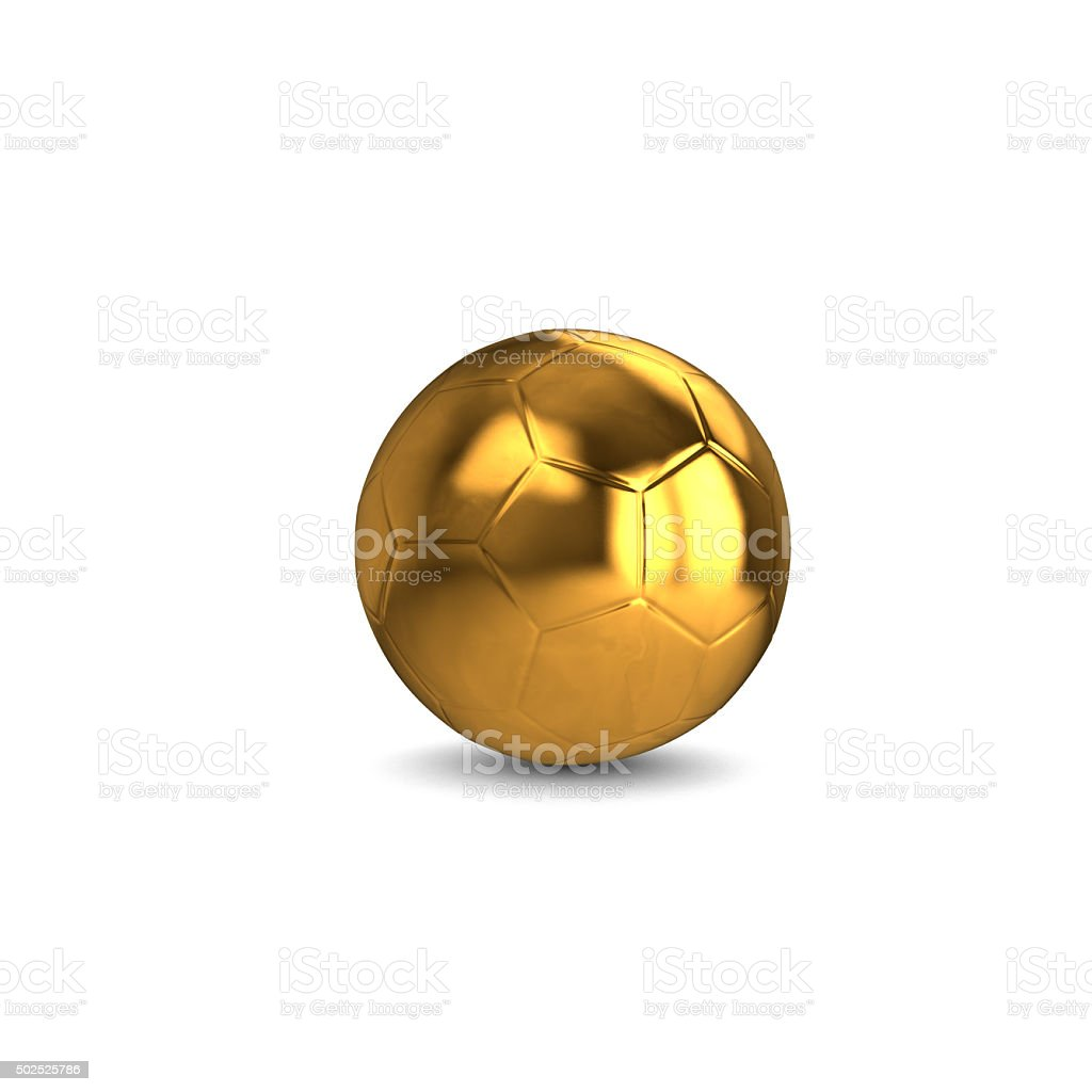 golden football on white background stock photo