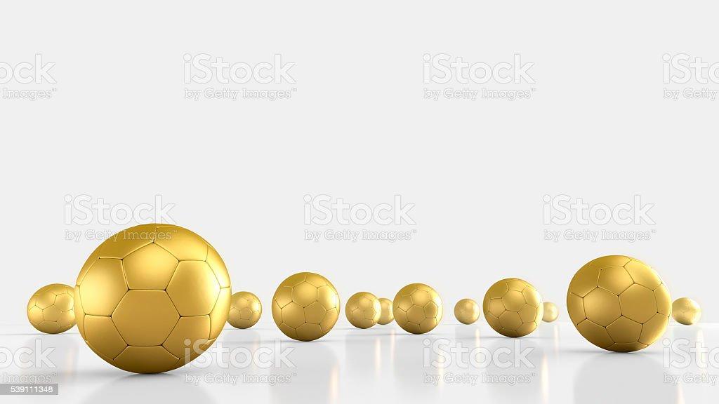 Golden Footballs on white background.3D rendering stock photo