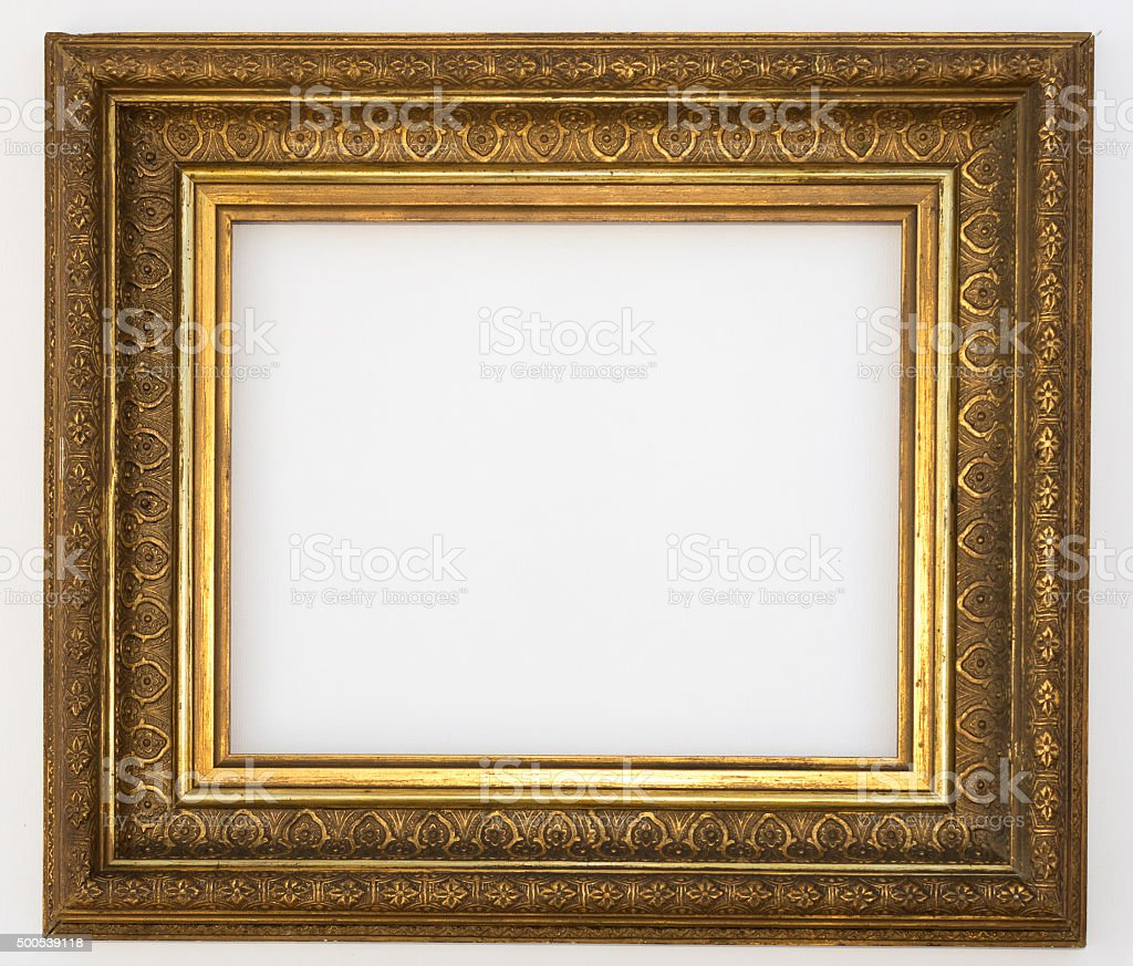 golden frame isolated, decorated picture frame stock photo