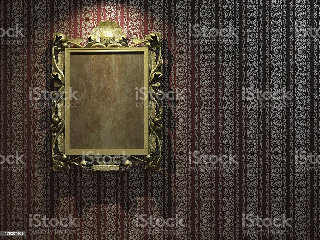 golden frame on classic wallpaper royalty-free stock photo