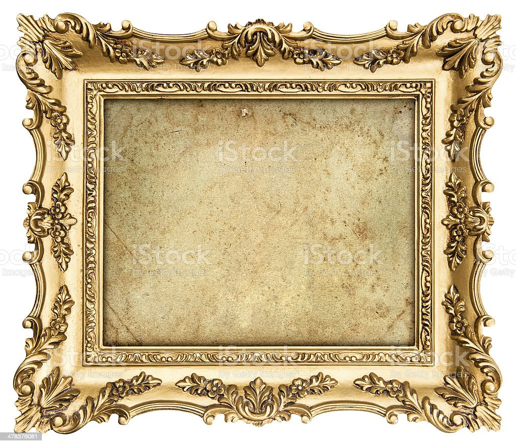 golden frame with canvas for your picture, photo, image stock photo