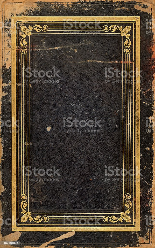 golden framed book cover stock photo