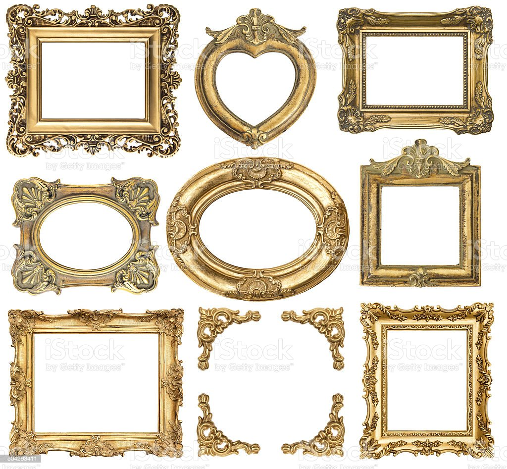 golden frames. baroque style antique objects stock photo