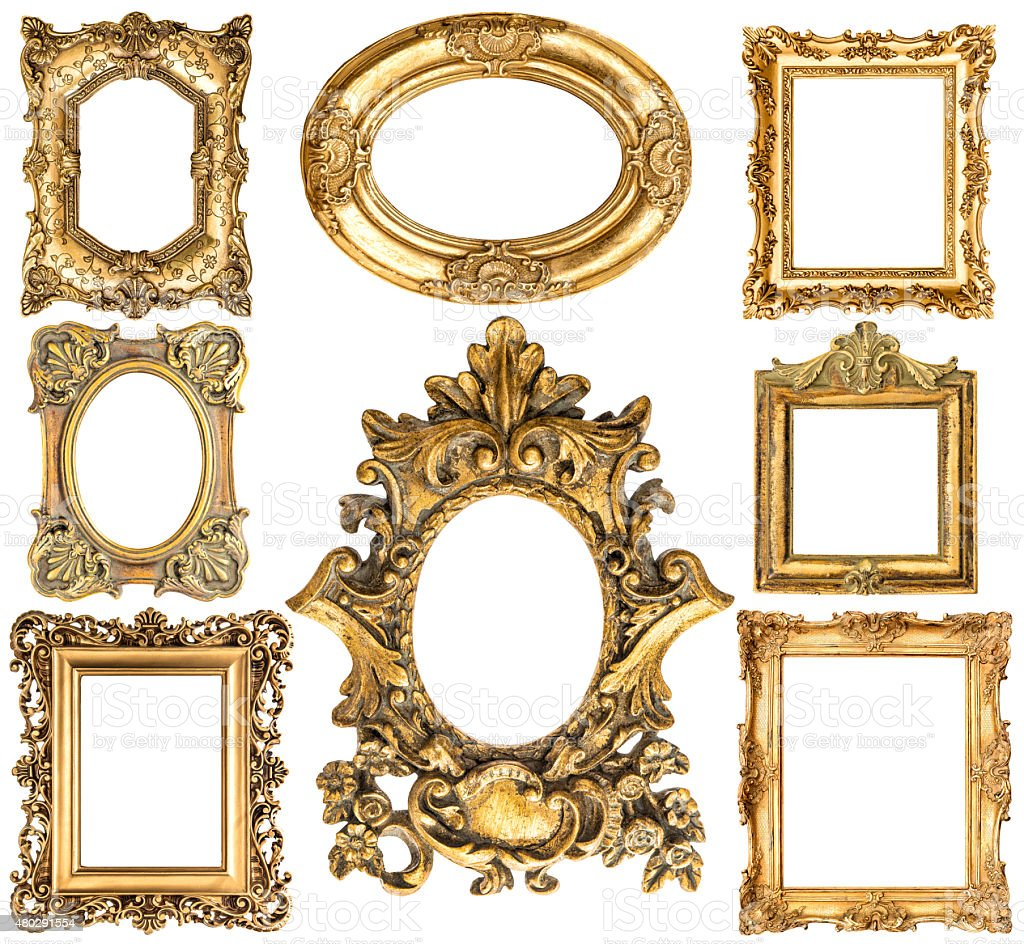 Golden frames. Baroque style antique objects. Vintage collection. Scrapbook elements stock photo