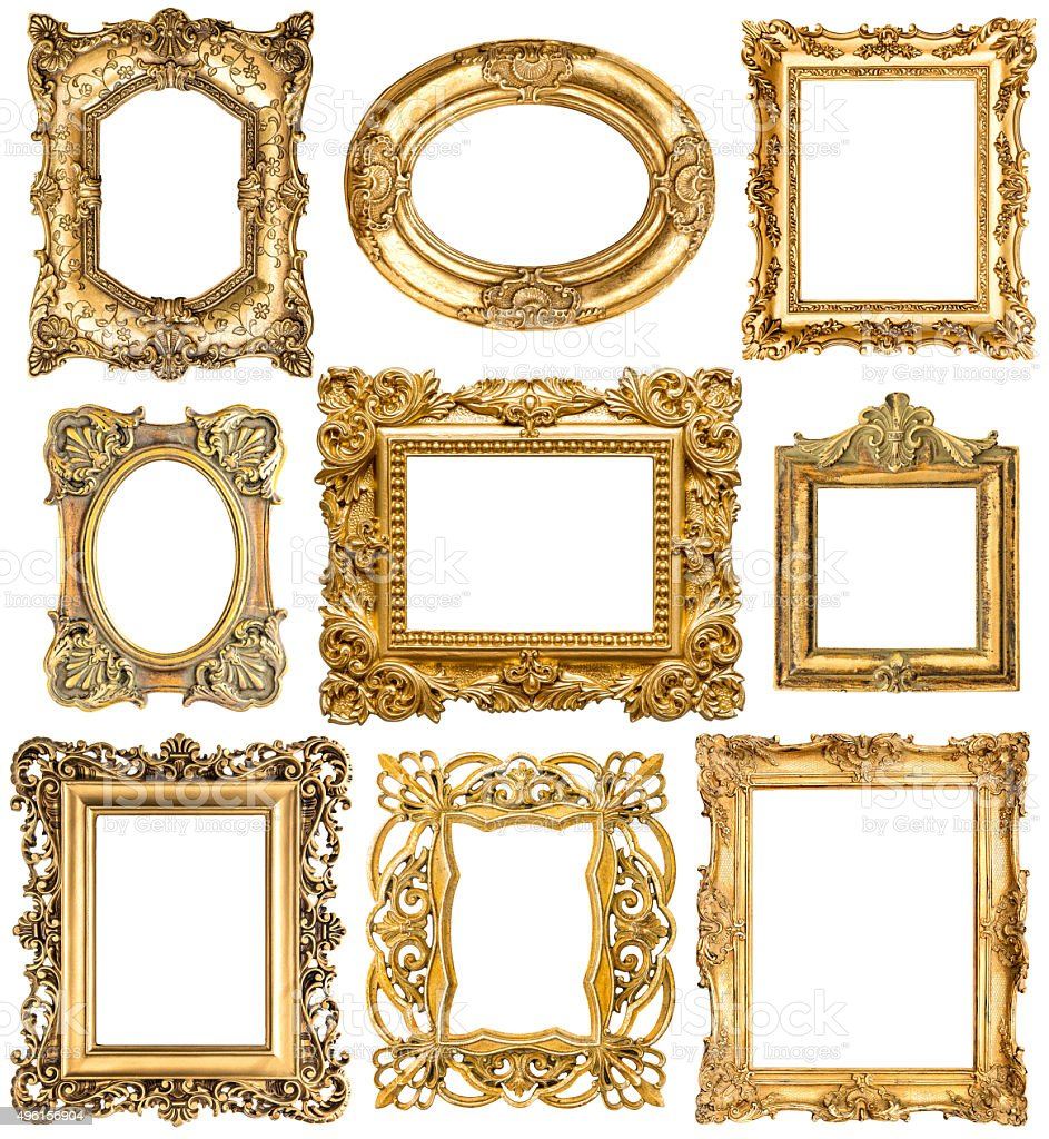 Golden frames. Baroque vintage objects. Antique picture stock photo