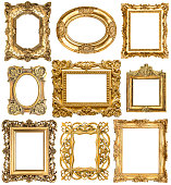 Golden frames. Baroque vintage objects. Antique picture
