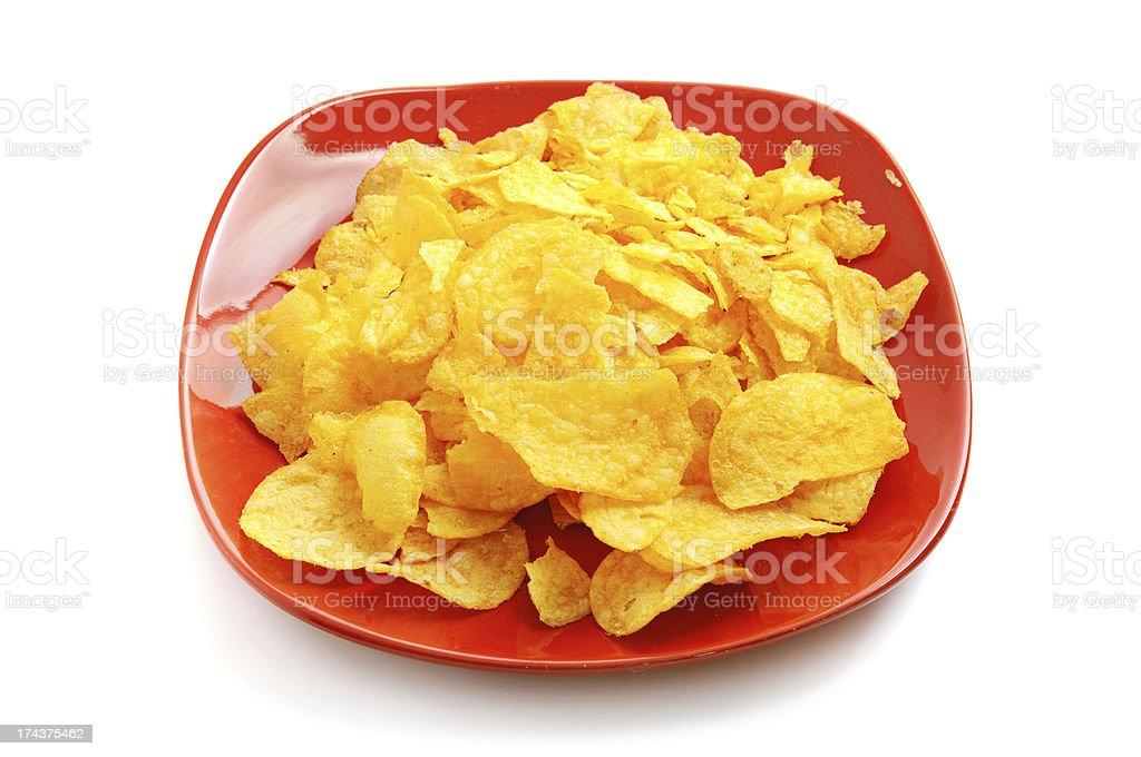 Golden fresh chips royalty-free stock photo